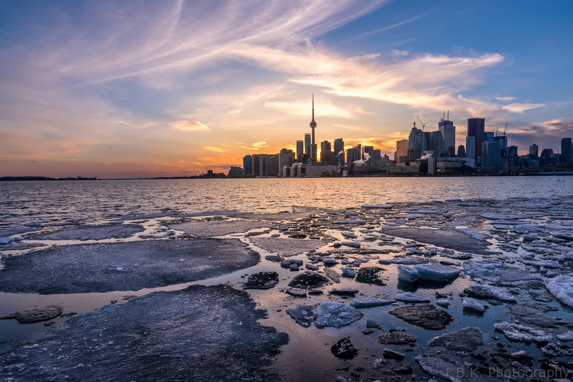 The day the floating ice sheet left Lake Ontario, Toronto.